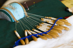 Bobbin lace craft Stock Photos