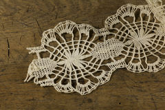 Bobbin Lace. Details & wood table royalty free stock photos