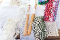 Bobbin lace handmade work Stock Photos
