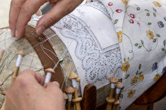 Bobbin Lace Hands at Work Stock Photo