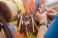 Bobbin lace making Stock Images
