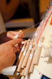 Bobbin lace making Royalty Free Stock Image