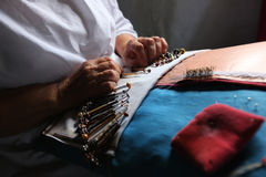 Bobbin lace making Royalty Free Stock Photo