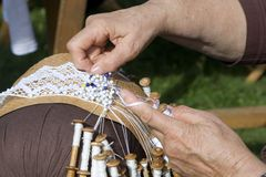 Bobbin lace work Stock Photography
