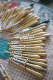 Bobbin lacemaker work stock image