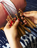 Bobbin lacemaking Royalty Free Stock Photo