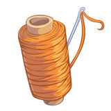 Bobbin of orange thread with needle. Cartoon bobbin of orange thread with needle isolated Stock Images