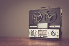 Bobbin tape recorder retro micrphone. HD photo. Royalty Free Stock Images