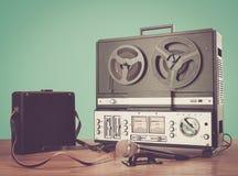 Bobbin tape recorder retro micrphone. HD photo. Royalty Free Stock Image