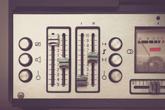 Bobbin tape recorder retro micrphone. HD photo. Royalty Free Stock Photo