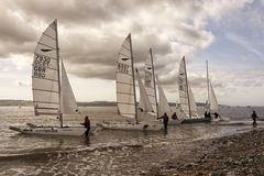 Bobbing along on the River Dee. Sailing on the River Dee Wirral England UK.  Thursaton Sailing Club Stock Image