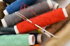 Bobbins with colorful threads Royalty Free Stock Photos