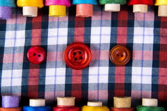 Bobbins with colorful threads Stock Images