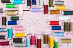 Bobbins with colorful threads Royalty Free Stock Image