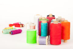 Bobbins of colorful threads Royalty Free Stock Images