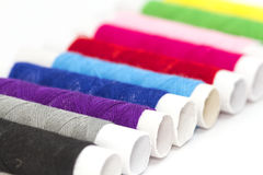 Bobbins with colorful threads Royalty Free Stock Photography