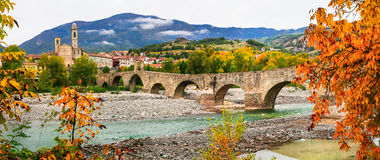 Bobbio - beautiful ancient town with impressive roman bridge, It Royalty Free Stock Image