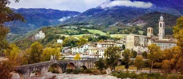 Bobbio - beautiful ancient town with impressive roman bridge, It Stock Photography