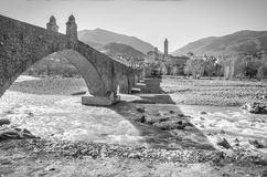 Bobbio bridge black and white italy emilia romagna Stock Photography