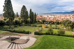 Bobble Garden in Florence. Boboli Gardens, with the city of Florence in the background Royalty Free Stock Photos