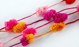 Bobble wool. A closeup of colorful bobble wool thread Stock Photography