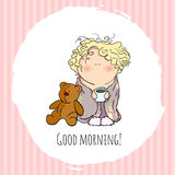 The bobblehead with curled hair. wish card. vector character. doodle Royalty Free Stock Photography
