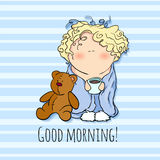 The bobblehead with curled hair. wish card. vector character. Stock Photography