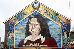 Bobby Bands väggmålning i Belfast som är nordlig - Irland arkivfoton