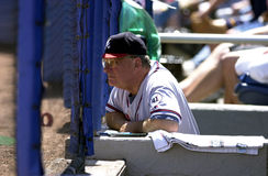 Bobby Cox Manager for the Atlanta Braves. Bobby Cox manager watching the game from the dugout royalty free stock photos