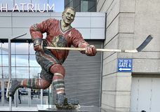 Bobby Hull Sculpture. This is a piece of public art titled: Bobby Hull located outside the United Centerhome of the Chicago Blackhawks located in Chicago stock photos