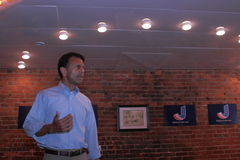 Bobby Jindal, Governor of Louisiana and presidential hopeful speaks at Smokey Row Coffee House, Oskaloosa, Iowa Stock Image