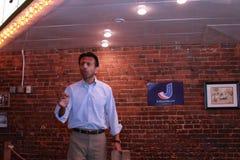 Bobby Jindal, Governor of Louisiana and presidential hopeful speaks at Smokey Row Coffee House, Oskaloosa, Iowa Royalty Free Stock Photo