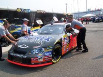 Bobby Labonte Car and Crew #18. Bobby's team getting their Chevrolet #18 race car ready to get inspected in Richmond International Speedway Royalty Free Stock Images