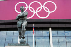 Bobby Moore Statue. The Bobby Moore statue outside 2012 Olympic football venue Wembley Stadium in England.  Moore captained the 1966 England football world cup Royalty Free Stock Images