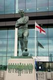 Bobby Moore statue Wembley stadium, London, UK, FA Cup Final May-17-08 Portsmouth Cardiff football. Bobby Moore statue in bronze outside entrance to new Wembley Stock Photography