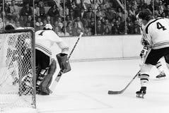 Bobby Orr och Gilles Gilbert, Boston Bruins royaltyfria bilder