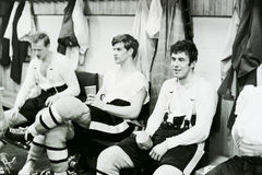Bobby Orr sitting in the Bruins dressing room. Royalty Free Stock Images