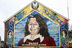 Bobby Sands wall painting in Belfast, Northern Ireland stock photos