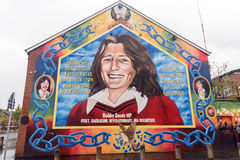 Bobby Sands mural in Belfast, Northern Ireland. Bobby Sands was an Irish member of the Provisional Irish Republican Army who died on hunger strike while Royalty Free Stock Photos
