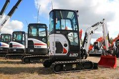 Bobcat Compact Excavators on Display stock photo