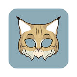 Bobcat mask for various festivities, parties. Activities Royalty Free Stock Photo