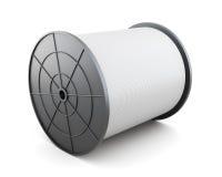 Bobina con cavo isolato su fondo bianco 3d rendono i cilindri di image Immagini Stock Libere da Diritti