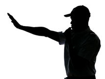 Bobina de tráfego que faz o gesto do batente Fotografia de Stock Royalty Free