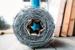 Bobina del alambre de púas Fotografía de archivo libre de regalías