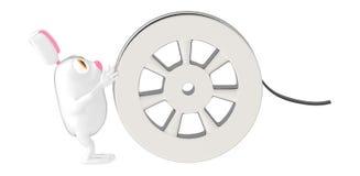 bobina del carattere 3d, del coniglio e di film illustrazione vettoriale