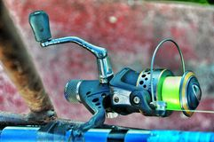 Bobina della canna da pesca Immagine Stock