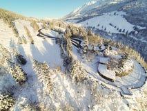 Bobina della strada della montagna attraverso le alpi tedesche Fotografie Stock