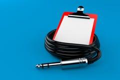 Bobina di audio cavo con la lavagna per appunti in bianco Illustrazione Vettoriale