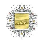Bobina di cucito disegnata a mano del filo di vettore floreale Fotografie Stock Libere da Diritti