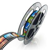 Bobina di pellicola con filmstrip Fotografie Stock Libere da Diritti